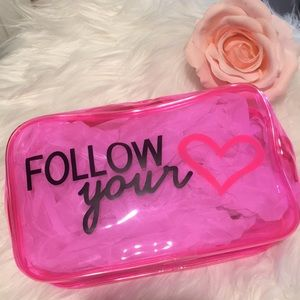 Pink heart 💕 clear makeup cosmetic bag case neon